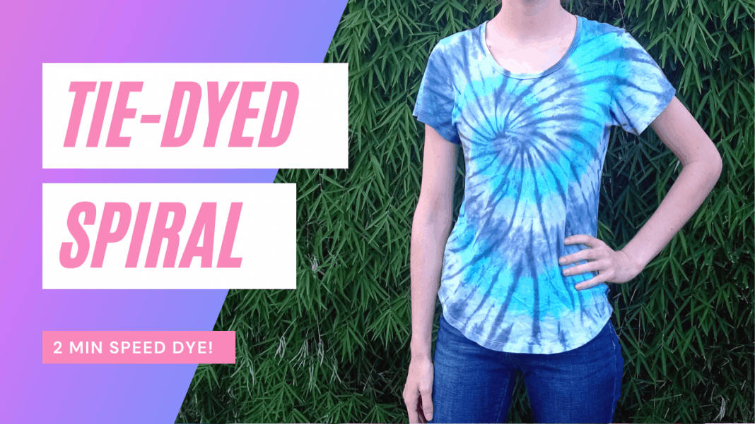 Easy Blue Spiral Tie Dye T-Shirt - video included!