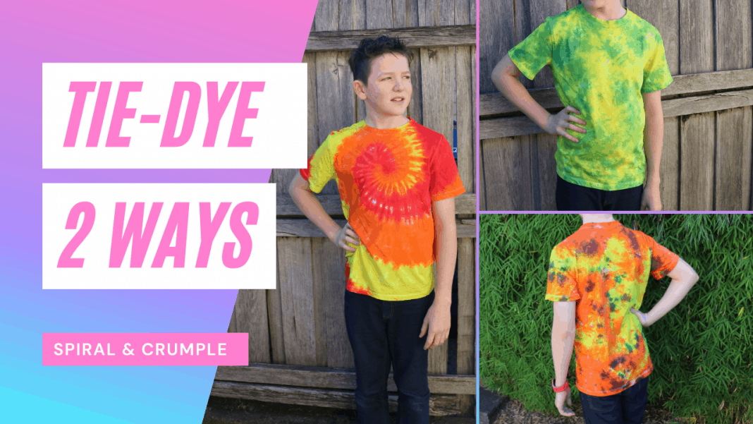 Spiral and crumple tie-dye