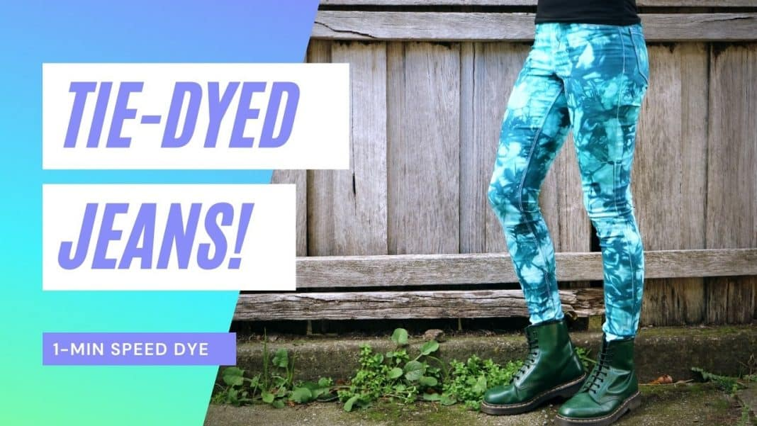 tie-dye jeans low water immersion side view