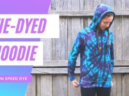 Tie-dye hoodie, blue and purple spiral tie-dye